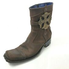 MARK NASON Men's US 9 Brown Suede Distressed Zip Up Ankle Boots Made in Italy