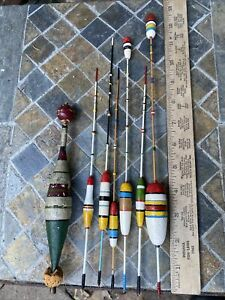 """7 Vtg. Wooden Fishing Float Bobber Hand Painted sizes up To 12"""""""