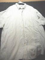 Eddie Bauer Tall XL Short Sleeve Button Blue Green White Grid Men's Shirt