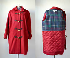 LL BEAN Red Coat Wool Toggle Duffle Peacoat Vintage Large Hooded Winter