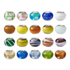 100pcs Handmade Lampwork Glass European Beads Large Hole Charms Crafting 14~16mm