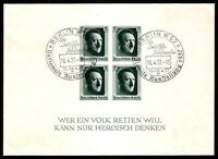 DR Nazi 3rd Reich RARE WW2 STAMP Hitler Head Fuhrer Block'8 17.4.37 Birthday Eve
