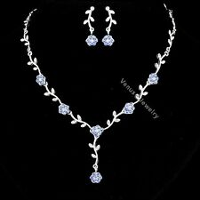 Bridal Blue Rhinestone Crystal Wedding Flower Necklace Earrings Set N295