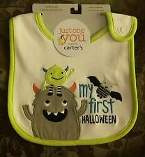 """New Carter's Just One You """"My First Halloween"""" Monster Baby Bib~Boy/Girl/Neutral"""