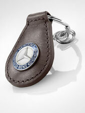 Mercedes-Benz Schlüsselanhänger Classic braun blau silber Rindleder B66041522