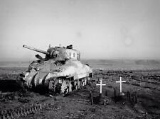 WWII Photo Canadian M4 Sherman Crew Graves Italy  World War Two WW2 B&W / 3088