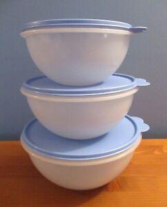 3-Piece TUPPERWARE Wonderlier Bowl Set with Seals! 6, 8 3/4 & 12 Cups ~ U.S.A.