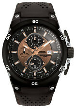 Jorg Gray Mens JG7800-22 Bronze Dial Black Leather Band Stainless Steel Watch