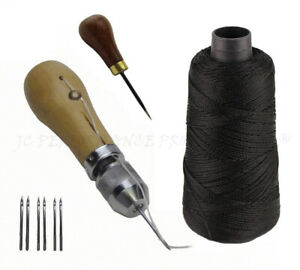 Guoshang 4 in 1 Leather Awl Repair Tool Sewing Awl Needles Stitching Lacing Scratch Awl Tool