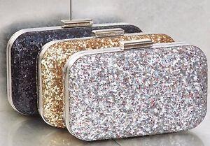 Black Gold Silver Sparkly Sequin Glitter Bridal Wedding Prom Clutch Handbag Bag