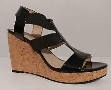 "NEW!! Women Adrienne Vittadini Black Patent 4""Heels Cork Wedge Sandals Size 9.5M"