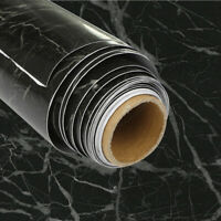 Marble Black Wall Sticker Wallpaper Roll Self Adhesive Kitchen Bathroom Cover