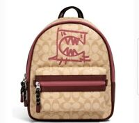 Coach Vale Medium Charlie Backpack In Signature Canvas With Rexy By Guang Yu$428