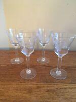 "SET OF 4 Vintage 6"" Clear Glass 4-oz Wine Glasses or Cordials; Leaves & Vines"