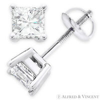 Forever One D-E-F Square Cut Moissanite 14k White Gold Screwback Stud Earrings