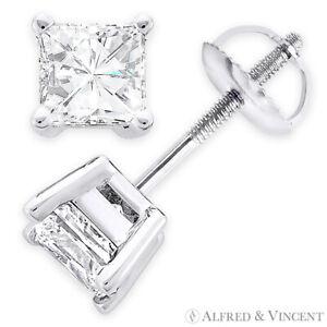 Forever One D-E-F Square Cut Moissanite 14k White Gold Screwback Stud Earrings