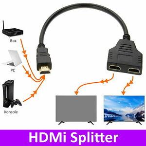 HDMI Splitter Verteiler Adapter PC TV Konsole 1 in 2 out 4K Full HD Steck Buchse
