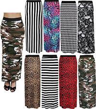 Womens Ladies Aztec Tribal Stripe Print Long Jypsy Jersey Maxi Tube Skirt UK8-22