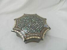 "Egyptian Inlaid Wood Mother of Pearl Umbrella Shaped Jewelry Box 8.5"" # 799"