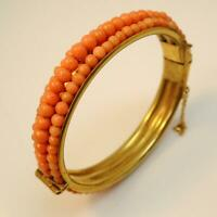 Vintage / Antique Coral Bangle With Bright Natural Orange Coral Beads