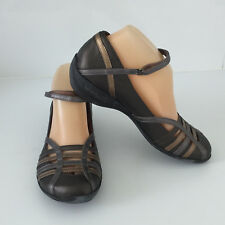 'HUSH PUPPIES' EC SIZE '7M' PEWTER & BRONZE CROSS STRAPS WITH ANKLE SELF CLOSING