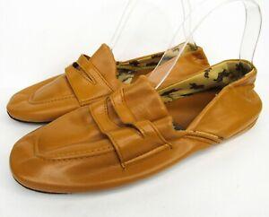 Vintage 70s Jiffies Mens Travel Case Slippers M/L 8-9 Zip Pouch Tan Vinyl Shoes