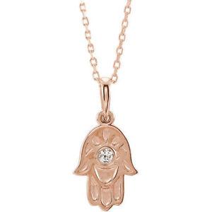 """Diamond Hamsa 18"""" Necklace In 14K Rose Gold"""
