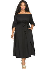 New Black chambray Off the Shoulder Belted Plus Size Midi Dress 16 18 20 22 24