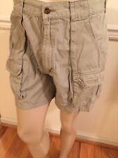 Men's Woolrich Tag 34 - Meas. 33 W X5.5 Khaki Tan Cotton Cargo Hiking Shorts GUC