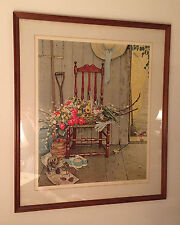 "NORMAN ROCKWELL ""Spring Flowers"" Signed Numbered Collotype 24"" x 29"" Limited Ed."