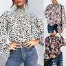 Womens Ruffle Frill Polka Dot Shirt Tops Ladies High Neck Long Sleeve Blouse Tee