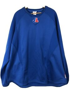Montreal Expos Therma Base Pullover Knit Shirt Thick Mens 3XL Blue Majestic B22