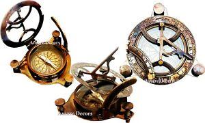 Antique Maritime Brass Sundial Compass Nautical Vintage Marine Working Sundial