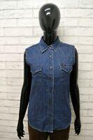 Camicia Jeans LEE Donna Taglia Size M Maglia Chemise Shirt Woman Polo Cotone Blu