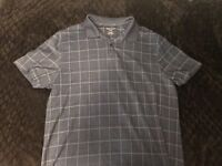 Van Heusen Shirt Short Sleeve Blue Polo Pocket Men's Large NEW
