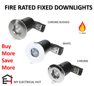 Fixed FIRE RATED Recessed GU10 Downlight WHITE CHROME BRUSHED CHROME