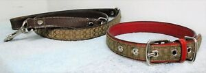 COACH BROWN JACQUARD SIGNATURE C LOGO DOG PET COLLAR AND LEASH SET SIZE LARGE
