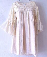 NEW~Ivory Crochet Lace Bell-Sleeve Peasant Boho Beach Summer Dress~16/18/14/XL