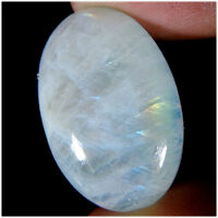 LARGE 14x10mm OVAL CABOCHON-CUT NATURAL INDIAN RAINBOW MOONSTONE GEMSTONE £1 NR!
