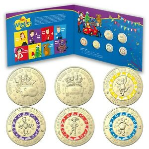 Australia 2021 $1 & Coloured $2 30 Years of the Wiggles 6 UNC Coins in Folder