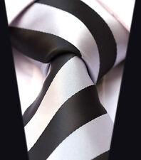 Mens Tie Black White Satin Silver Striped Wedding Silk Stripe Necktie Free Hanky