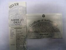 1994 Sliver Eagle Proof COA ONLY NO COIN