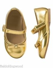 NWT GYMBOREE All Spruced UP Gold Flats Dress Shoes 5,6,7 Girl Toddler