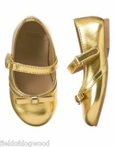 NWT GYMBOREE All Spruced UP Gold Flats Dress Shoes 6,7 Girl Toddler Girls