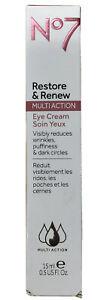 No7 Restore & Renew Multi-Action Eye Cream 15 mL/0.5 fl oz~ NIB