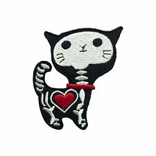 Cat Skeleton (Iron on) Embroidery Applique Patch Sew Iron Badge