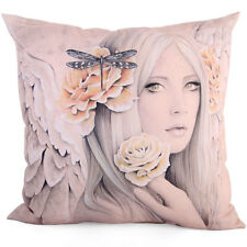 Beautiful Fairy Angel Summer Rose Cushion Pillow by Jessica Galbreth