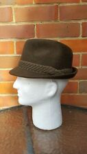 MENS VINTAGE DUNN & CO TRILBY - 6 1/2 53 - GREEN TWEED