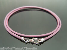 """2mm Purple Pink Leather & Sterling Silver Necklace Or Wristband 14"""" 16"""" 18"""" 20"""