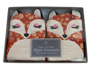 Aroma Home Fox Hand Warmer Covers w/2 Reuse Click & Heat Gel Packs Fabric /knit